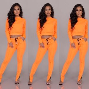 Pants - Jenna Jogger Set-Neon Orange